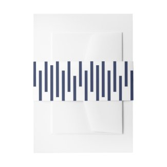 Modern Navy Blue White Geometric Lines Pattern Invitation Belly Band