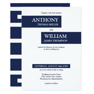 Modern Navy Blue White Geometric Stripes Wedding Invitation