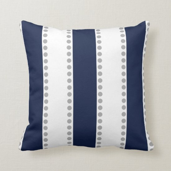 Modern Navy Blue White Gray Polka Dots Stripes | Throw Pillow