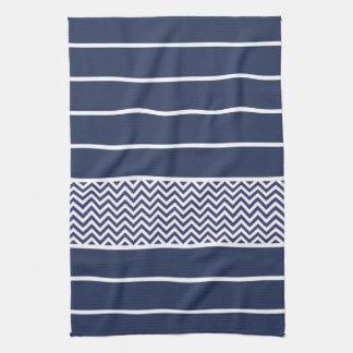 Modern Navy Blue White Stripes Chevron Pattern Hand Towel