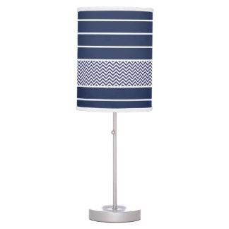 Modern Navy Blue White Stripes Chevron Pattern Lamps
