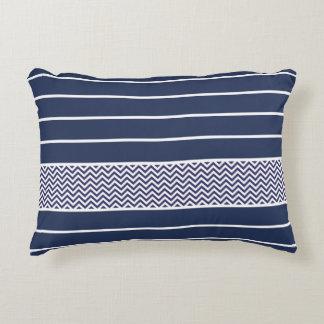 Modern Navy Blue White Stripes Chevron Pattern Accent Pillow