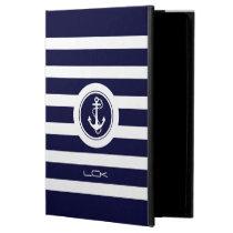 Modern Navy Blue & White Stripes Nautical Anchor Powis iPad Air 2 Case