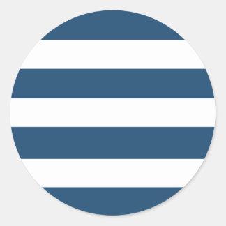 Modern Navy Blue White Stripes Pattern Classic Round Sticker