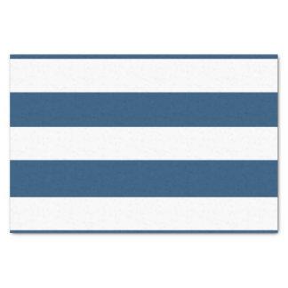 "Modern Navy Blue White Stripes Pattern 10"" X 15"" Tissue Paper"