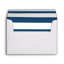 Modern Navy Blue White Stripes Pattern Envelope