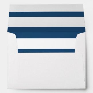 Modern Navy Blue White Stripes Pattern Envelopes