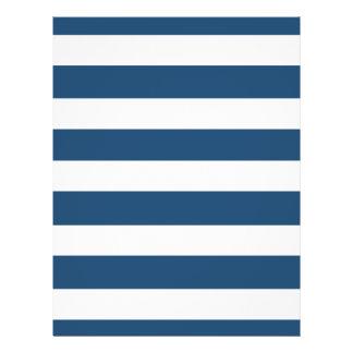 Modern Navy Blue White Stripes Pattern Flyer
