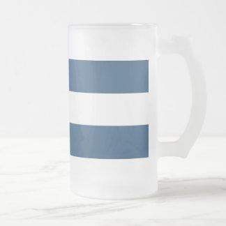 Modern Navy Blue White Stripes Pattern Frosted Glass Beer Mug