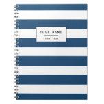 Modern Navy Blue White Stripes Pattern Note Books