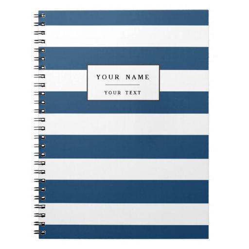 Modern Navy Blue White Stripes Pattern Notebook