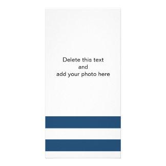 Modern Navy Blue White Stripes Pattern Photo Card