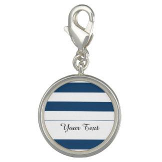 Modern Navy Blue White Stripes Pattern Charm Bracelet