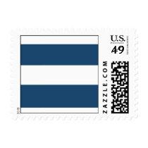 Modern Navy Blue White Stripes Pattern Postage