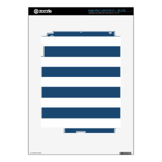 Modern Navy Blue White Stripes Pattern Decal For iPad 3