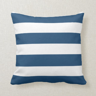 Modern Navy Blue White Stripes Pattern Throw Pillow