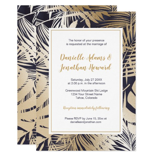 Modern Navy Blue with Gold Leaves Overlay Wedding Invitation