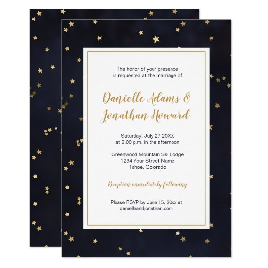 Modern Navy Blue with Gold Stars Confetti  Wedding Invitation
