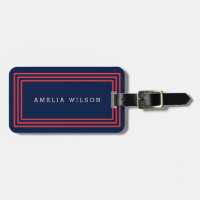 Modern Navy Blue with Salmon Pink Borders Luggage Tag