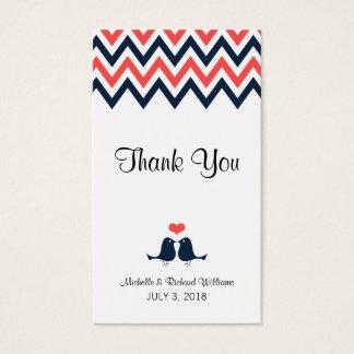 Modern Navy & Coral Chevron & Lovebirds Wedding Business Card