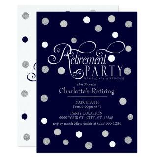 Modern, Navy Glitter Retirement Party Invitations