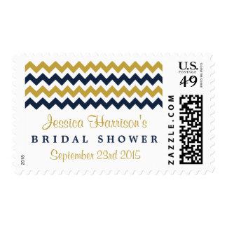 Modern Navy & Gold Chevron Bridal Shower Postage
