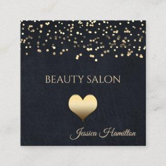 Modern navy gold confetti cute heart square business card