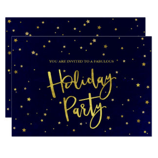 Modern Navy & Gold Stars Holiday Party Card
