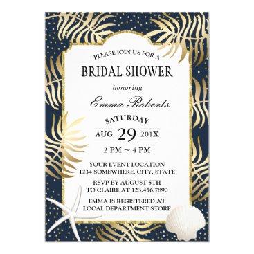 Beach Themed Modern Navy & Gold Tropical Beach Bridal Shower Card