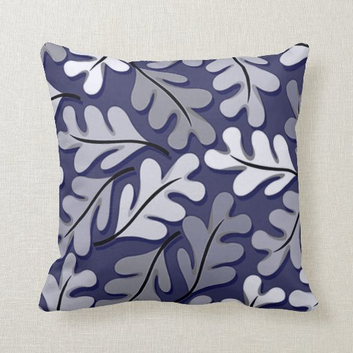 Modern Navy Pillows : Modern Navy & Gray Leaf Motif Throw Pillow Zazzle