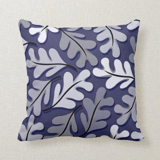 Modern Gray Pillows : Modern Navy & Gray Leaf Motif Throw Pillow Zazzle