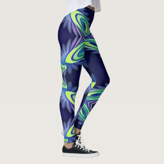 Modern Navy  Lavender With Flourescent Lime Mint Leggings