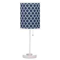 Modern Navy Quatrefoil Lamp