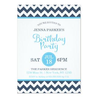 Modern Navy Sky Blue Chevron Birthday Party Card