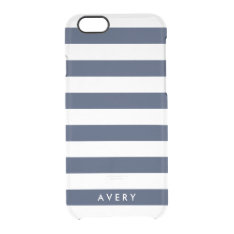 Modern Navy Stripe Clear Iphone Case at Zazzle