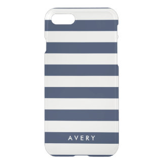 Modern Navy Stripe Clear iPhone Case