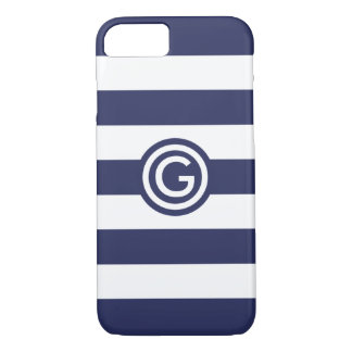 Modern Navy Stripe Monogram Clear iPhone Case