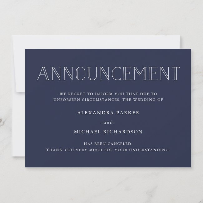 Modern Navy Wedding Cancellation Announcement