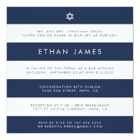 Modern Navy & White Stripe Bar Mitzvah Invitation