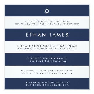 Modern Navy & White Stripe Bar Mitzvah Invitation