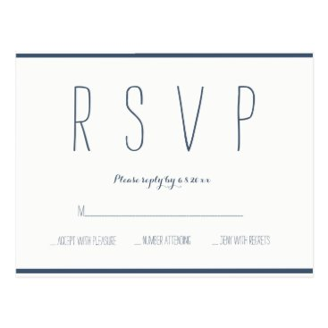 Beach Themed Modern navy & white wedding rsvp cards