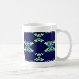 Modern Navy With Flourescent Lime Mint Pattern Coffee Mug