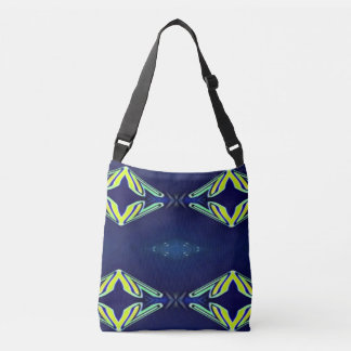 Modern Navy With Flourescent Lime Mint Pattern Crossbody Bag