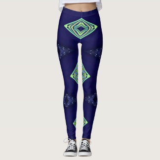 Modern Navy With Flourescent Lime Mint Pattern Leggings