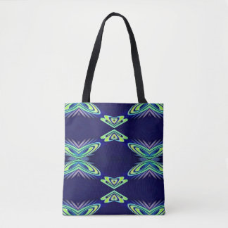 Modern Navy With Flourescent Lime Mint Pattern Tote Bag