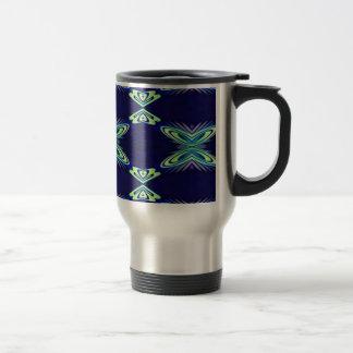 Modern Navy With Flourescent Lime Mint Pattern Travel Mug