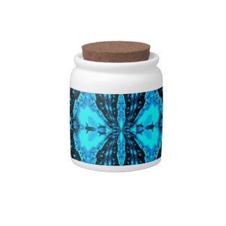 Modern Neon Blue Funky Pattern Candy Dishes