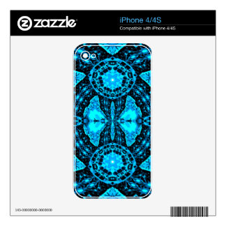 Modern Neon Blue Funky Pattern Skins For The iPhone 4