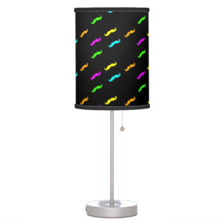 Modern Neon Colors Curly Mustaches On Black Desk Lamp