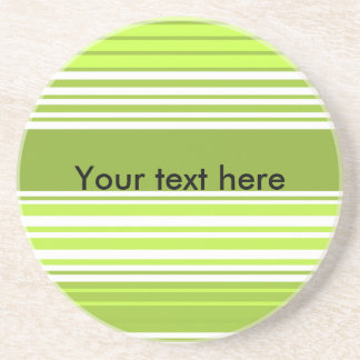 Modern neon green and moss stripes beverage coaster